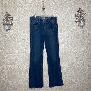 Paige flare distressed dark wash jeans